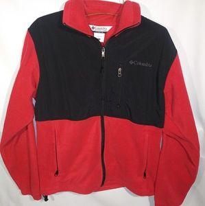 Columbia Red/Black Fleece Zip Sweater